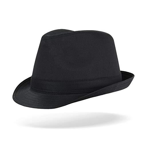 Tarjane® Unisex Freizeit Fedora Hut mit Zierband Schwarz L/XL