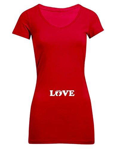 Umstandsmode - Love Füßchen, Frauen T-Shirt Extra Lang - ID104225 cherryberry