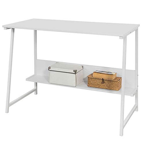 SoBuy® FWT34-W Schreibtisch mit Ablage Kinderschreibtisch Computertisch Bürotisch weiß BHT ca: 100x76x50cm -