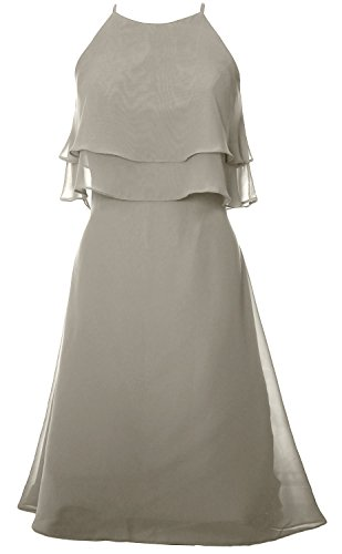 MACloth Women Tiered Chiffon Short Bridesmaid Dress Halter Cocktail Party Dress Silber