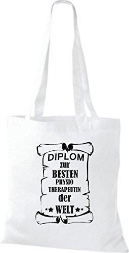 shirtstown Borsa di stoffa DIPLOM A MIGLIOR physiotherapeutin DEL MONDO Bianco