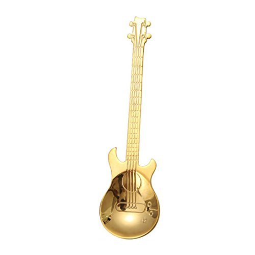 TAOtTAO Edelstahl Gitarre Löffel Rainbow Kaffee Tee Löffel Besteck Trinken Tools, gold, 12 cm -