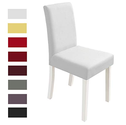 Yokamira coprisedie 4 pezzi elasticizzato copertura della sedia con schienale, lavabile elastica coprisedia sala da pranzo per una misura universale, bianca