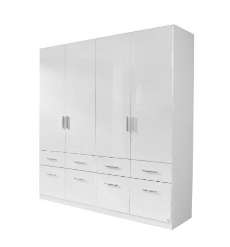 Rauch Kleiderschrank Weiß Hochglanz 4-türig mit 8 Schubladen, Korpus Weiß Alpin, BxHxT 181x197x54 cm