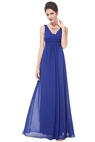 Gorgeous Bride Einfach V-Ausschnitte Empire Chiffon Lang Abendkleider Cocktailkleider Ballkleider Chiffon Royalblau