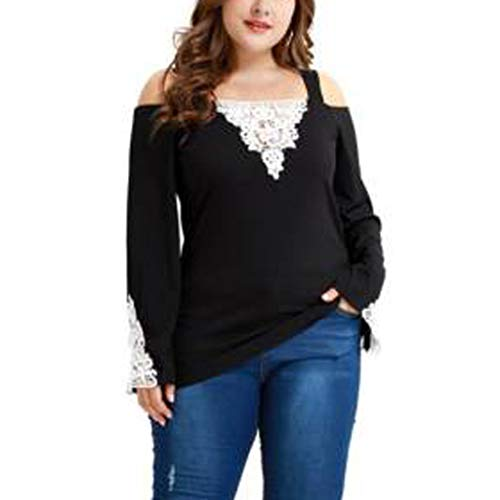 JUTOO 2019 Fashion Womens Long Sleeve Lace Large Size T Shirt Casual Tops