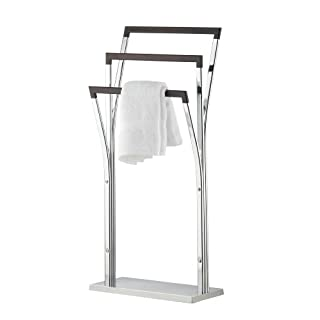 axentia Lianos Bathroom Towel Stand, Chromed Metal Towel Rail Rack Holder, Floor Standing Towel Stand, Bathroom Towel Hanger with 3 Wooden Bars and Stable Base, approx. 42 x 19 x 89 cm, Silver