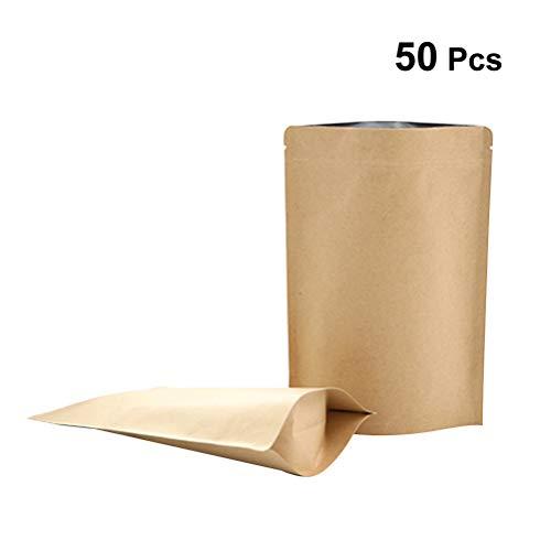Zip Kaffee (BESTONZON 50Pcs Kraftpapier Druckverschlussbeutel Aluminiumfolie Beutel Zip Papiertüten Kraftpapierbeutel für Kaffee Tee Lebensmittel (13 x 4 x 18 cm))