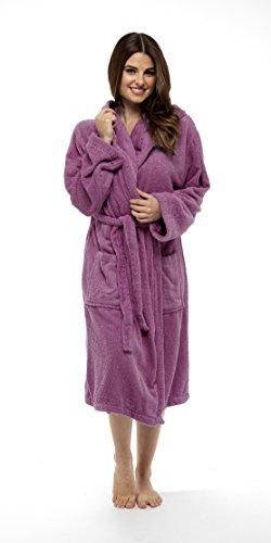 Bata de baño para mujer, de lujo, 100 % algodón con bucles, perfecta para regalo de Navidad Rosa Wild Orchid S