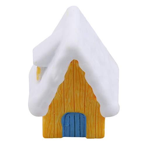 LIXIAQ1 Miniatur Schneehäuser Harz Handwerk Micro Landschaft Weihnachten Home Wohnzimmer Büro Desktop Dekoration, gelb