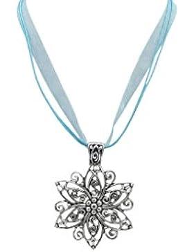 Hellblau Ladinelle Damen Schmuck Halskette Kette Trachtenschmuck Wiesn Oktoberfest Dirndl Blüten, Blumen Anhänger