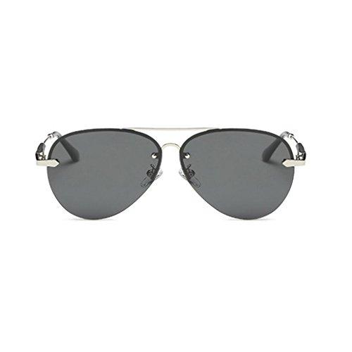 RLJJSH Sonnenbrille Flieger Sonnenbrille Mode 80er Jahre Retro-Stil Designer Farbton UV400 Linse Neutrale Linse Breite 61 mm Sonnenbrille Sonnenbrille (Farbe : Silber, größe : One Size)