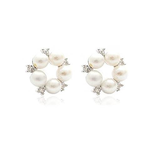 En argent sterling 925–Perle d'eau douce naturelle–Boucles d'Oreilles Cercle Styler pour femmes...