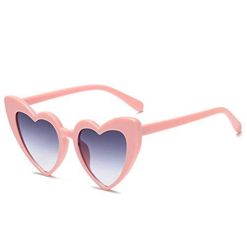 TYJYTM Eule Stadt Herz Sonnenbrille Frauen Vintage rote Herzen geformt Sonnenbrille Damen Retro Brillen der 90er Jahre für weibliche Shades