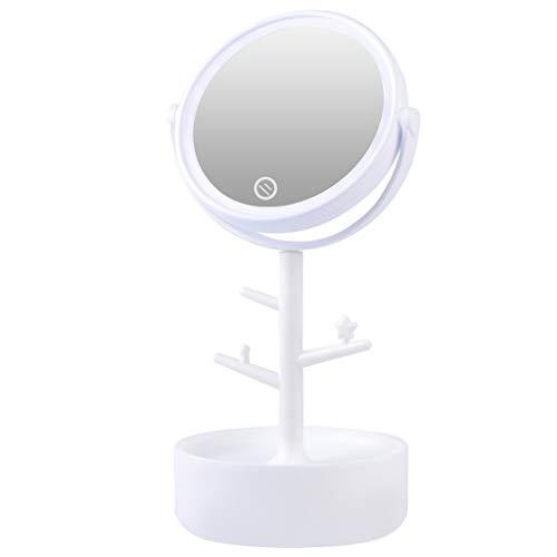 LYQ-Schminkspiegel Desktop Make-up MirrorLED Licht Base Storage Artikel Touch-Schalter 360 Grad Drehbare Halterung PP HD Für Familie -
