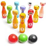 Bowling Game Set For Kids: Best Indoor Bowling Set With 10 Colorful Wooden Character Pins And 3 Bowling Balls -Fun To Play In Groups Too - Perfect Bowling Toy That Works
