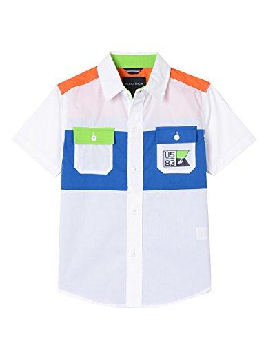 Nautica Jungen Short Sleeve Printed Button Down Shirt Button Down Hemd - weiß - Large (Jungen Weißes Hemd Nautica)