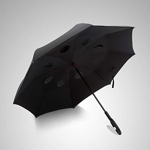 Wghz Langer Griff Reverse Umbrella Sunny Umbrella Falten Korea Taschenschirm Doppelschicht Übergroße Männer Und Frauen Free Style (Farbe: Schwarz)
