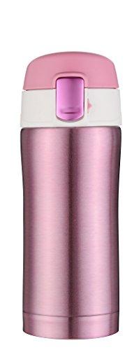 Kooyi 250 ml Vakuum Isolierbecher Wasserflasche, Travel Mug einhändige öffnen und Trinken, 100% auslaufsicher (Rosa)