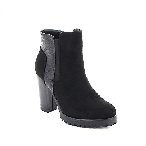 Boots à talon en daim effet croco Noir