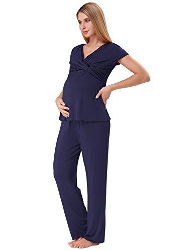 Weiche Umstandsschlafanzug Früling Zweiteilig Schwangerschaft Hausanzug Blau M