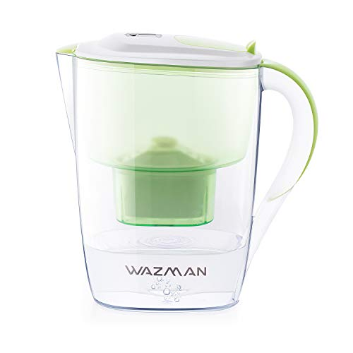 Wazman Wasserfilter 2.6l grün - Filterkanne mit 1 Filterkartusche für mineralienreiches Trinkwasser