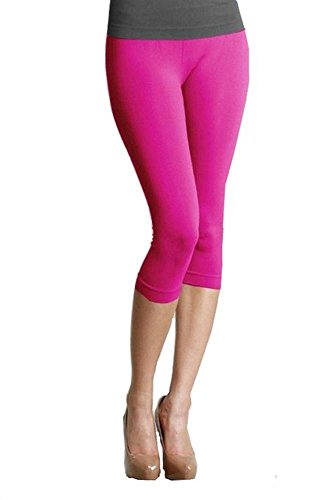 Mesdames coton stretch uni 3/4 en culture genou leggings-couleurs et tailles(ladies 3/4 cotton leggings)Ref:2191