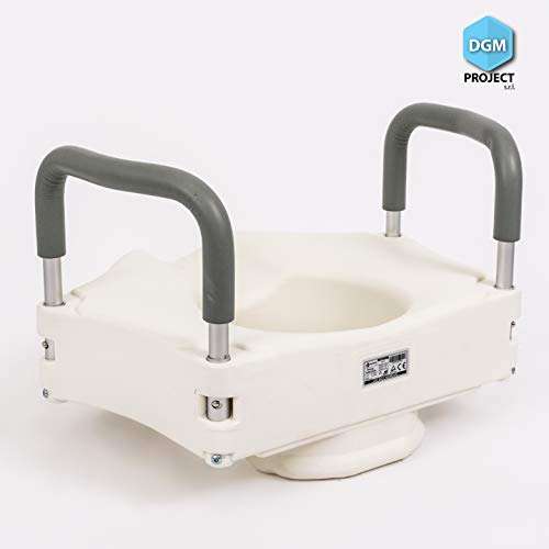 DGM Project s.r.l. Toilettensitzerhöhung Anatomisch geformter Toilettensitz mit Befestigung und Armlehnen aus Aluminium mit anatomischem Gummi, Tragkraft 110 kg