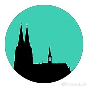 "Design-Magnet 6,3cm (rund)""Kölner Dom mint"", Kühlschrankmagnet, Geschenk, Köln, Dom, Kölngeschenk, Kunst, Cologne"