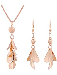 The Trendy Trendz Gold Plated Chain Necklace Earrings Party Jewelry Sets For Women And Girls