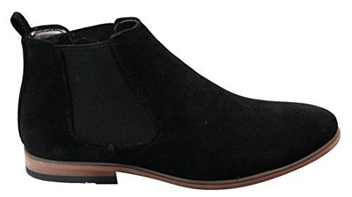 Bottines Chelsea homme simili daim sans lacets design italien style mi-chevilles chic décontracté Noir