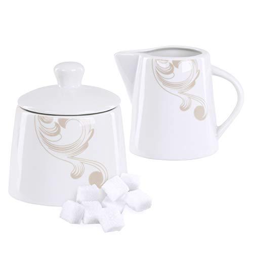 Van Well | 2-TLG. Geschirr-Set Festivo: Zucker-Dose + Milch-Kännchen | Spender mit Deckel | Gießer | Festliches Porzellan-Geschirr | Blumen-Ranken