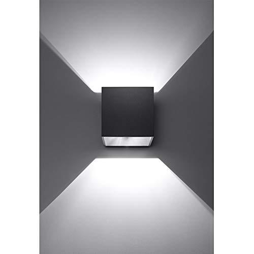 K-Bright 12W Moderne LED Schwarz Wandleuchte mit einstellbar Abstrahlwinkel Design IP 65 außen Wandaussenleuchte für Schlafzimmer, Wohnzimmer,Kalt weiß, Aluminium, 12 W, Black Case,Cold White - Kegel-wand-lampe