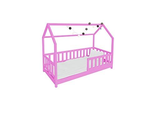 Children's Beds Home Lit Simple - Cabane pour Enfants Enfants Enfant Junior Pas de Tiroirs Pas de Matelas Inclus (140x70, Rose)