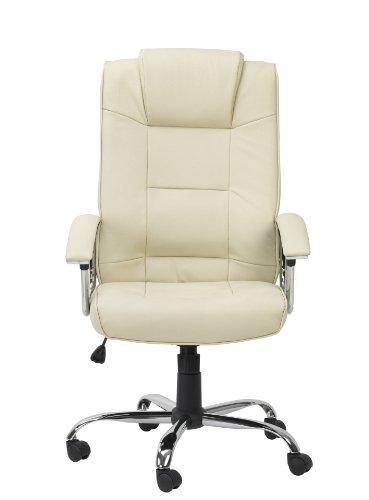 Alphason Houston Executive High Back Leather Chair - Cream
