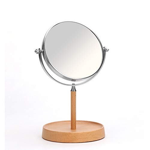 ZH Tisch-Vanity-Spiegel Rasierspiegel Doppelseitige 1: 1 + 1: 3 Vergrößerungstischplatte Makeup Mirror mit Schmuck Storage Base, 360 ° Rotation Beauty Mirror, 6 Zoll -