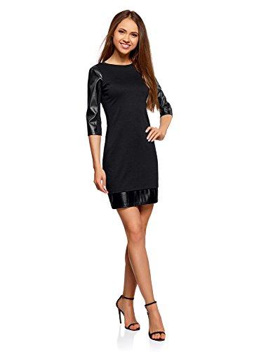 oodji Ultra Damen Kleid mit Kunstleder-Verzierung Schwarz (2900N)