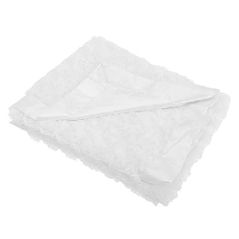 Baby Pram Blanket with Luxurious Plush Swirl and Satin Edge – White