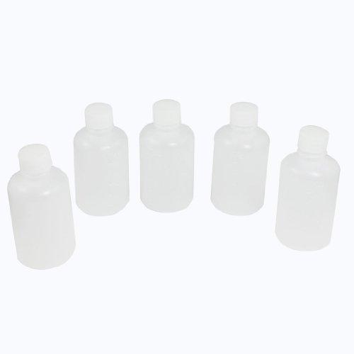 SODIAL(R) 5 x 60ml de Bouteille d'agent chimique de forme de cylindre en plastique transparent