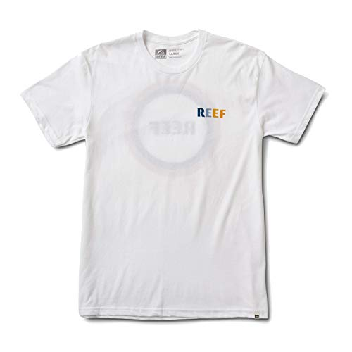 Reef Circle Tee Shirt with Front Screen Print Set in Collar Made of Cotton in White - L