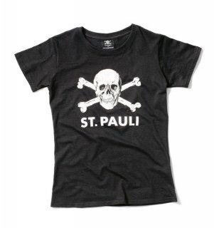 St, Pauli T-camiseta de calavera negro de las mujeres negro Talla:large