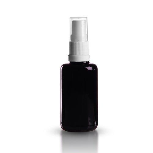 10 x Miron Violettglas 30ml / Violettglasflasche inkl. Pumpzerstäuber weiss / Sprühkopf DIN 18 mit transparenter Schutzkappe