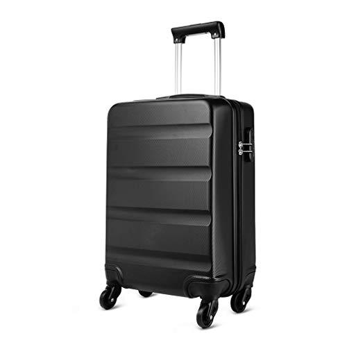 Kono Trolley ABS bagaglio a mano 55x38x20 cm Valigia rigida con 4 ruote (S,Nero)