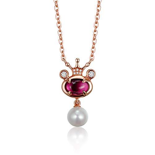 Perle Diamant Halskette Weiblich, 18K Rose Gold Natürliche Rote Turmalin Krone Halskette, Süßwasser Perle Holzkohle Schlüsselbein Kette, Geschenk Schmuck -