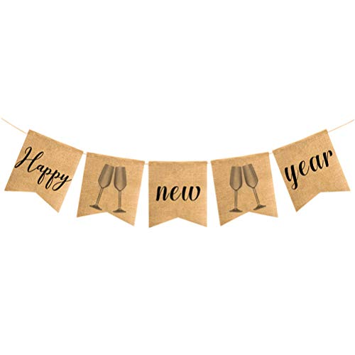 BESTOYARD Guten Rutsch Jahr Bunting Banner New Year Flachs Flagge hängen Party Event Banner Dekorationen