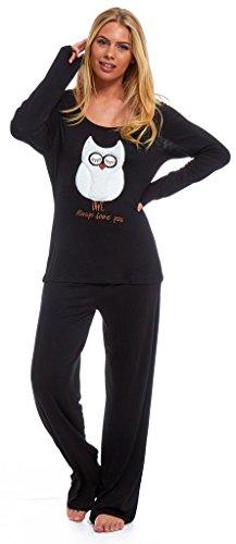 ex-marks-and-spencer-ladies-viscose-pyjamas-elastane-owl-applique-motif-animal-novelty-cute-stretch-