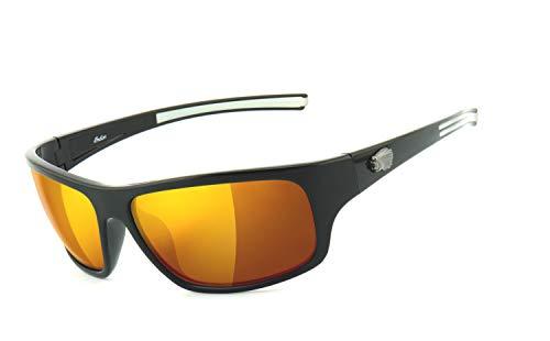 Indian Motorcycle | UV400 Schutzfilter, HLT® Kunststoff-Sicherheitsglas nach DIN EN 166 | Bikerbrille, Motorradbrille, Sportbrille | Brillengestell: schwarz, Brille: IN2025 - laser gold