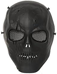 ALEKO pbm221bk calavera esqueleto Airsoft máscara con gafas de malla de alambre táctico Paintball Airsoft máscara de protección, Negro