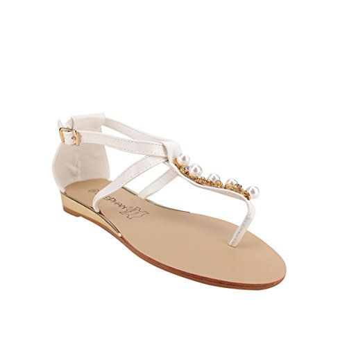 Cendriyon Tong Stephan Blanche Perles Chaussures Femme Blanc