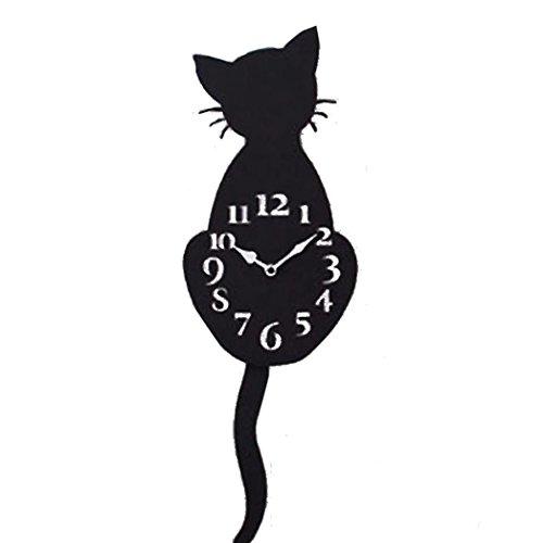 reloj de pared adhesivo romano grande 3d gatos, La cola puede moverse, 30cm - DIY reloj de pared digital cocina silencioso bricolaje moderno decoración adorno para hogar habitación (Negro 01)